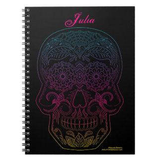 Day of the Dead Sugar Skull Halloween Art Rainbow Notebooks