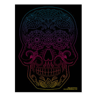 Day of the Dead Sugar Skull Halloween Art Rainbow Postcard