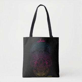Day of the Dead Sugar Skull Halloween Art Roses Tote Bag
