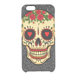 Day of the Dead Sugar Skull Hearts and Flowers Clear iPhone 6/6S Case