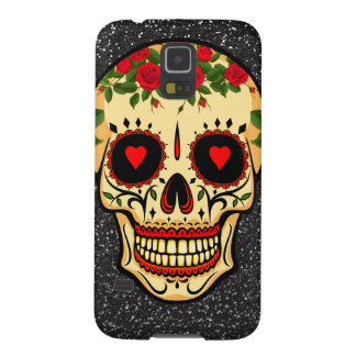 Day of the Dead Sugar Skull Hearts and Flowers Galaxy S5 Case