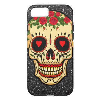 Day of the Dead Sugar Skull Hearts and Flowers iPhone 8/7 Case
