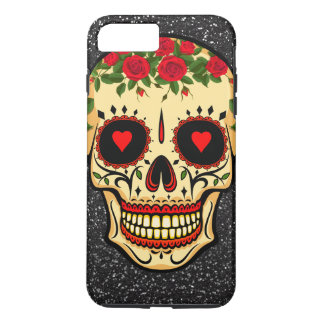 Day of the Dead Sugar Skull Hearts and Flowers iPhone 8 Plus/7 Plus Case