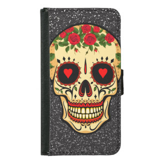Day of the Dead Sugar Skull Hearts and Flowers Samsung Galaxy S5 Wallet Case