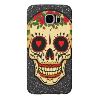 Day of the Dead Sugar Skull Hearts and Flowers Samsung Galaxy S6 Cases