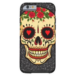 Day of the Dead Sugar Skull Hearts and Flowers Tough iPhone 6 Case