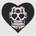 Day of the Dead Sugar Skull in Blue Heart Stickers