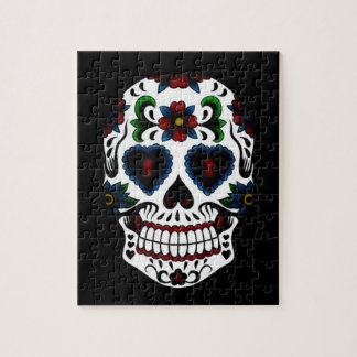 Day of the Dead Sugar Skull in Blue Jigsaw Puzzle