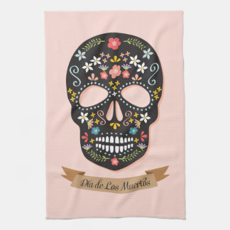 Day of the Dead Sugar Skull kitchen towel - pink