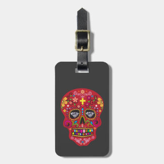 Day of the dead sugar skull luggage tag