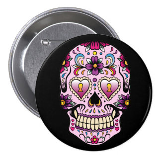 Day of the Dead Sugar Skull Pink Button
