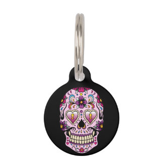 Day of the Dead Sugar Skull Pink Pet Name Tag