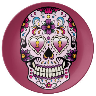Day of the Dead Sugar Skull Pink Plate