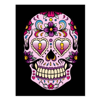 Day of the Dead Sugar Skull Pink Postcard