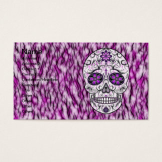 Day of the Dead Sugar Skull - Pink & Purple 1.0 Business Card
