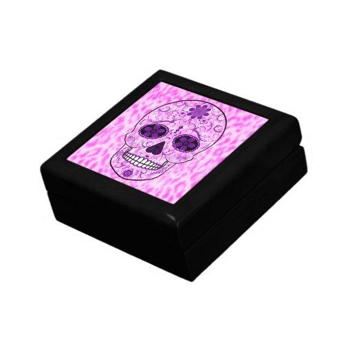 Day of the Dead Sugar Skull - Pink & Purple Trinket Box
