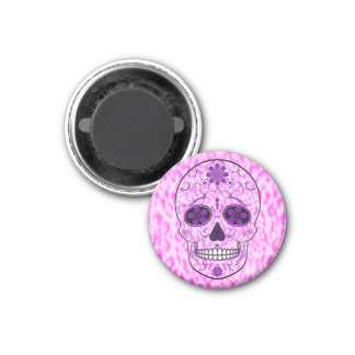 Day of the Dead Sugar Skull - Pink & Purple Magnet