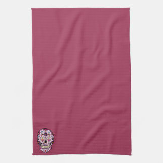 Day of the Dead Sugar Skull Pink Tea Towel