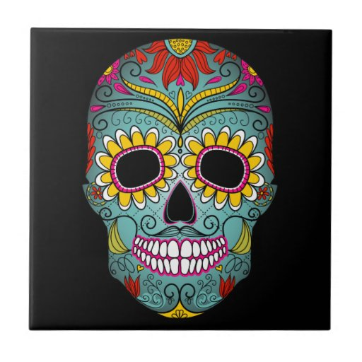 Day of the Dead Sugar Skull Small Square Tile