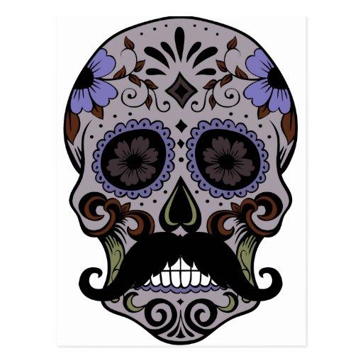Day of the Dead Sugar Skull w/Mustache Post Card