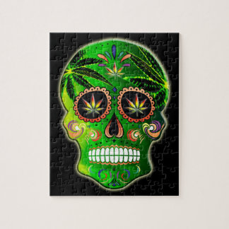 Day of the Dead Sugar Skull weed Shirt Puzzle