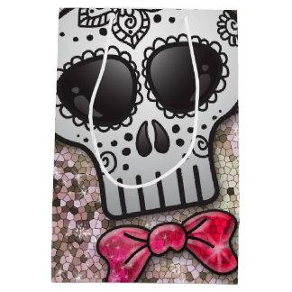 Day of the Dead Sugar Skull White Diamond Glitter Medium Gift Bag