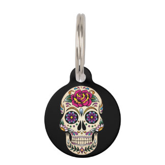 Day of the Dead Sugar Skull wit Rose Pet ID Tag