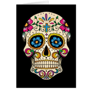 Day of the Dead Sugar Skull with Cross Card