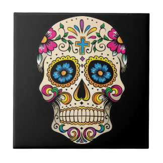 Day of the Dead Sugar Skull with Cross Ceramic Tile
