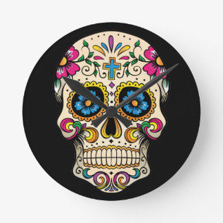 Day of the Dead Sugar Skull with Cross Clocks