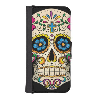Day of the Dead Sugar Skull with Cross iPhone SE/5/5s Wallet Case