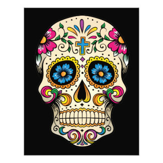Day of the Dead Sugar Skull with Cross Photo Print