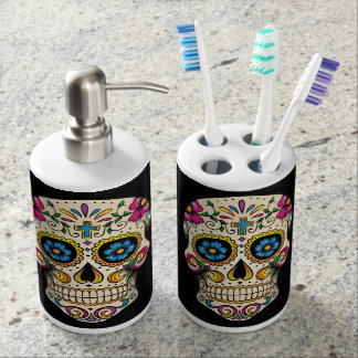 Day of the Dead Sugar Skull with Cross Soap Dispenser And Toothbrush Holder