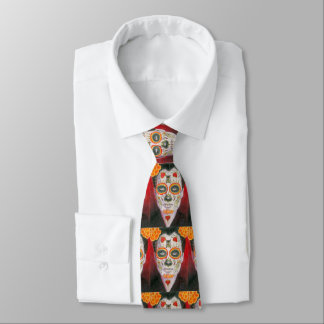 Day of the Dead Sugar Skull with Hearts Tie