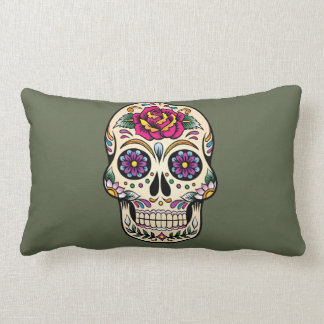 Day of the Dead Sugar Skull with Rose Pillow
