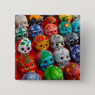 Day of the Dead Sugar Skulls 15 Cm Square Badge