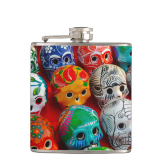 Day of the Dead Sugar Skulls Hip Flask