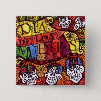 Day of the Dead Sugar Skulls square button / badge