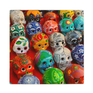 Day of the Dead Sugar Skulls Wood Coaster