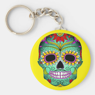 Day Of The Dead Tattoo Skull Key Ring