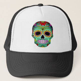Day Of The Dead Tattoo Skull Trucker Hat