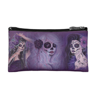 Day of the dead trio cosmetic bag by Renee Lavoie