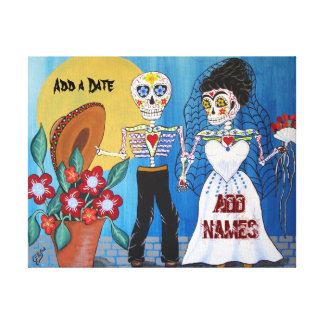 Day of the Dead Wedding Couple Stretched Canvas Prints