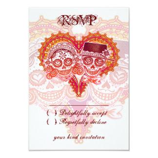 Day of the Dead Wedding RSVP Cards - Sugar Skulls 9 Cm X 13 Cm Invitation Card
