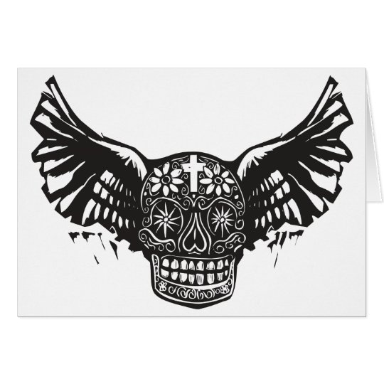 Day of the Dead Winged Skull Card