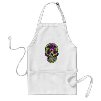 Day of the Dead with Purple Rose Adult Apron