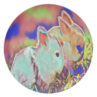 Day Time Dwarf Bunnies Plate