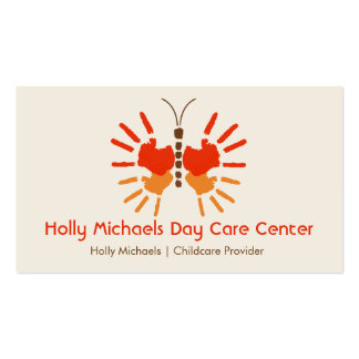 Daycare / Babysitter Butterfly Handprints Pack Of Standard Business Cards
