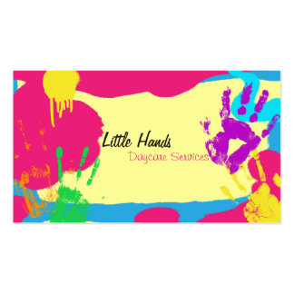 Daycare Business Card - Colorful Paint Hand Prints