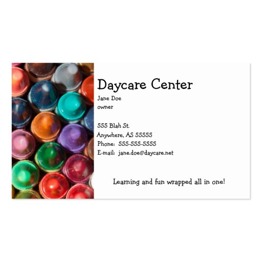 Daycare Crayon Template Business Card Template
